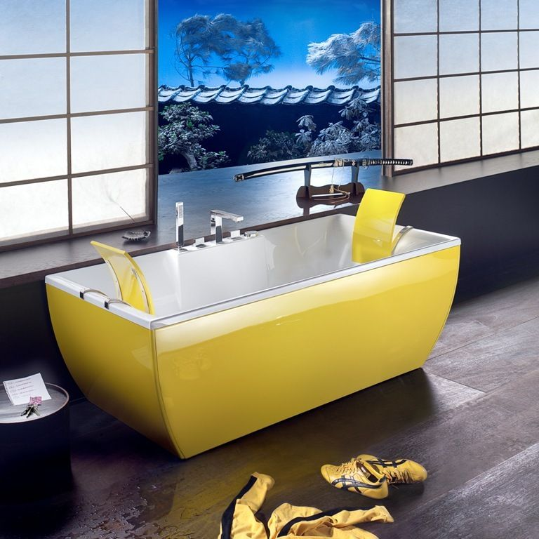 Art is Versatile Bathroom Decor - Yellow Bathtub